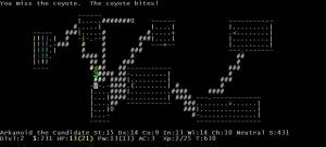Screen of Nethack, a roguelike game. I'm the @, the brown d is a coyote, the white d is my dog.